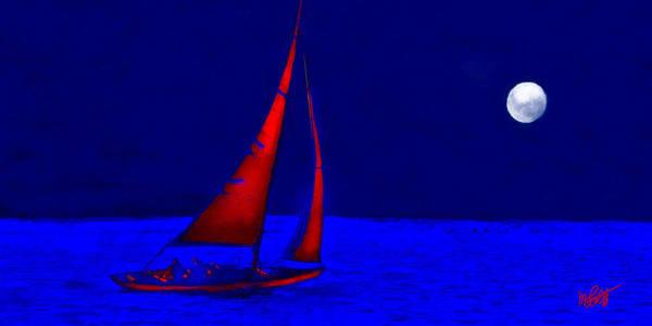 Sailboat Mixed Media - Moonlight Sail by Michael Petrizzo