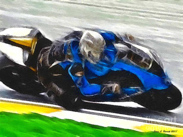 Mixed Media - Motorcycle Racer by Jerry L Barrett