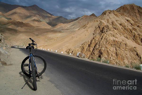 Northern India Photograph - Mountain Biking Down From Khardung La by Serena Bowles