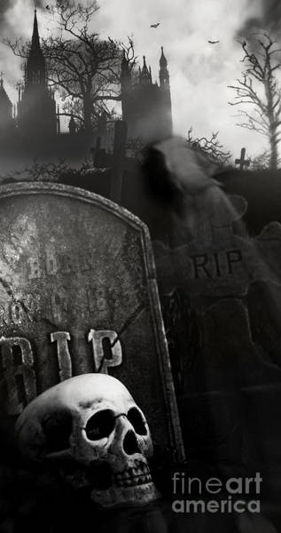 Photograph - Night Scene In Graveyard With Skull And Graves by Sandra Cunningham