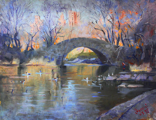 Ducks Painting - Nyc Central Park by Ylli Haruni