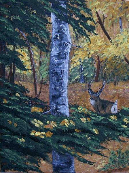 Black Buck Painting - #1 Of A Triptych by Sharon Duguay