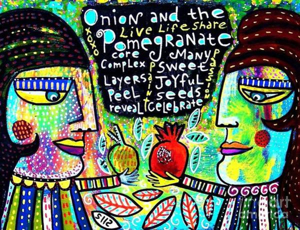 Painting - Onion And Pomegranate by Sandra Silberzweig