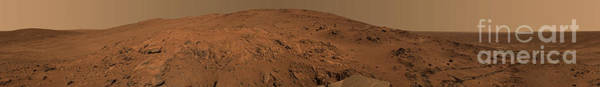 Gully Photograph - Panoramic View Of Mars by Stocktrek Images