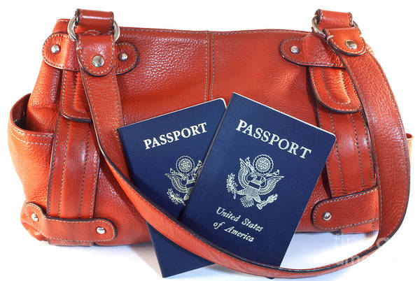 Wall Art - Photograph - Passports With Orange Purse by Blink Images