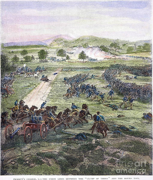 Cemetery Ridge Photograph - Picketts Charge, 1863 by Granger