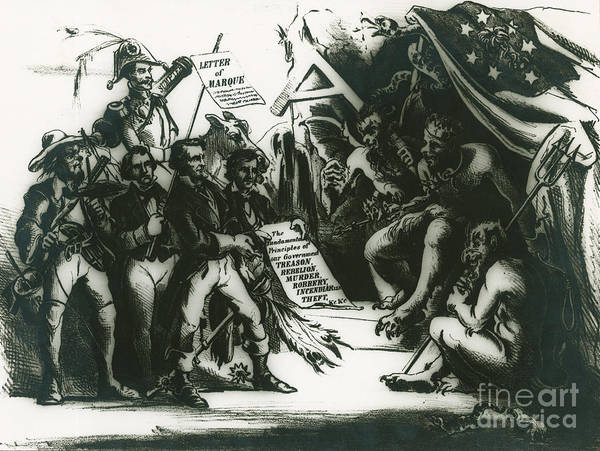 Beauregard Photograph - Political Cartoon Of The Confederacy by Photo Researchers