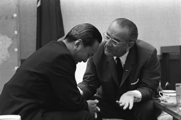 Van Johnson Photograph - President Lyndon Johnson Talks by Everett