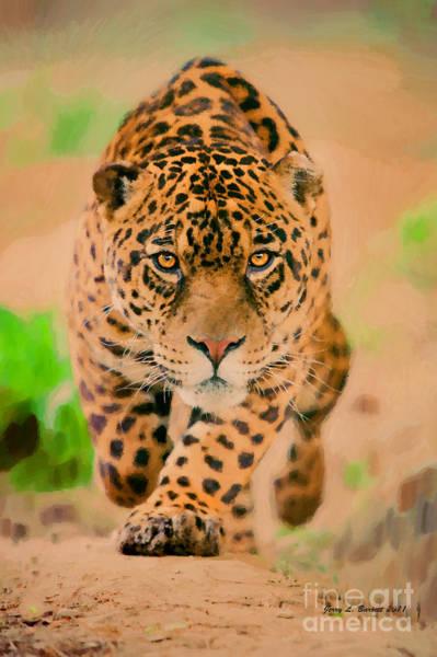Mixed Media - Prowling Leopard by Jerry L Barrett