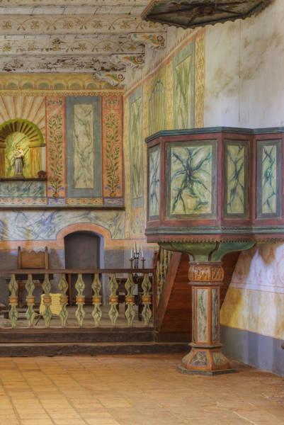 La Purisima Mission Photograph - Pulpit In Chapel At Mission La Purisima by Douglas Orton