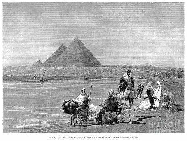 Photograph - Pyramids At Giza, 1882 by Granger