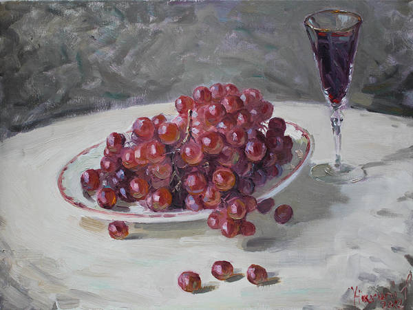 Plate Painting - Red Grapes by Ylli Haruni