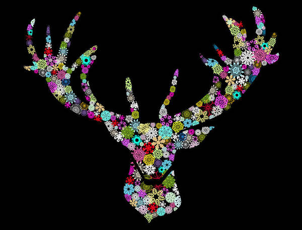 Holiday Card Digital Art - Reindeer Design By Snowflakes by Setsiri Silapasuwanchai