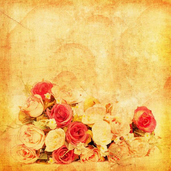 Aging Photograph - Retro Flower Pattern by Setsiri Silapasuwanchai