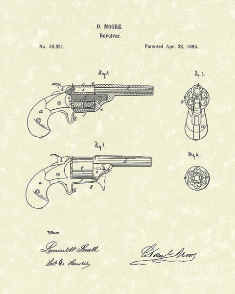 Vintage Patent Drawing - Revolver 1863 Patent Art by Prior Art Design