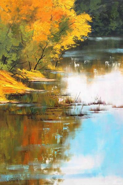 Lake Painting - River Bank by Graham Gercken