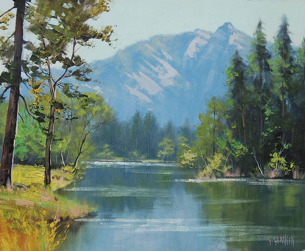 Mountain Lake Painting - Rocky Mountains by Graham Gercken