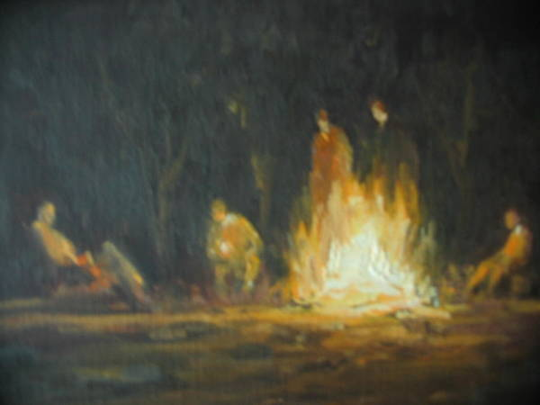 Wall Art - Painting - Round' The Fire by Berto Ortega
