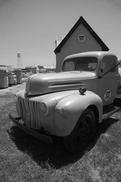 Photograph - Route 66 Truck And Gas Station 2012 Bw by Frank Romeo