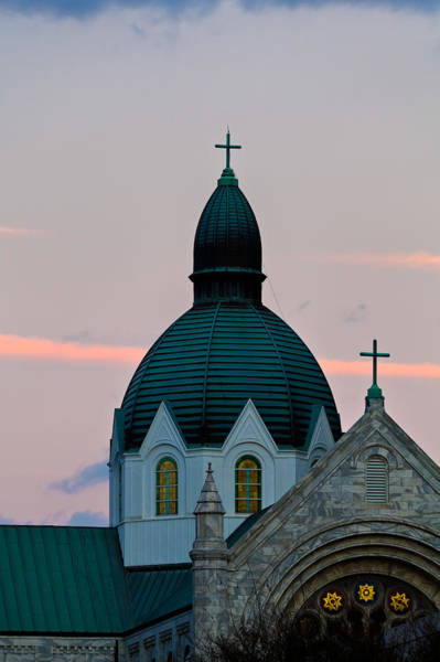 Photograph - Sacred Heart Catholic Church  At Dusk by Ed Gleichman