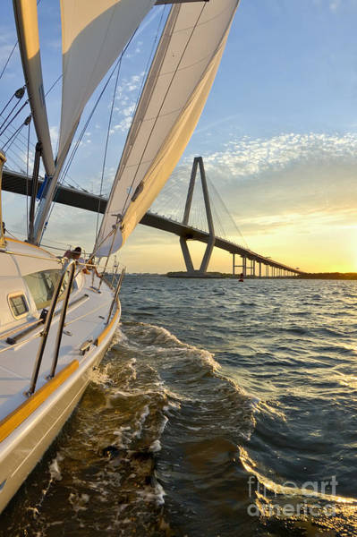 Wall Art - Photograph - Sailing On The Charleston Harbor During Sunset by Dustin K Ryan