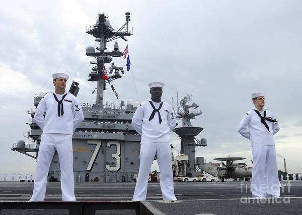 Uss George Washington Wall Art - Photograph - Sailors Man The Rails Aboard by Stocktrek Images