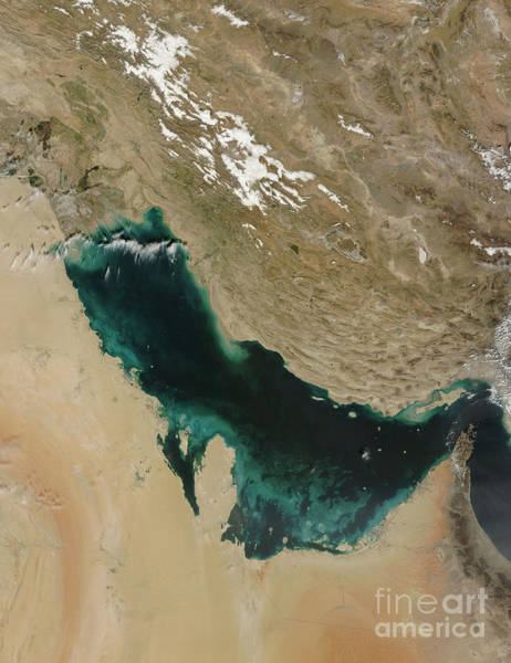 Bahrain Photograph - Satellite View Of The Persian Gulf by Stocktrek Images