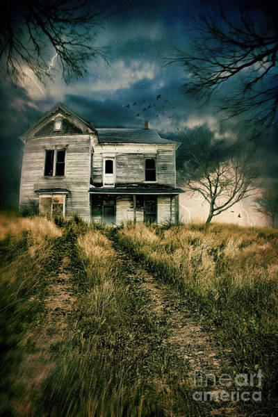 Photograph - Scary Abandoned House On Hill by Sandra Cunningham