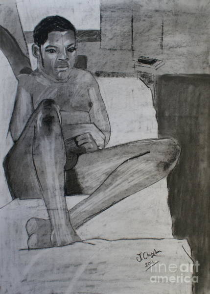 Male Model Drawing - Seated Male Nude by Joanne Claxton