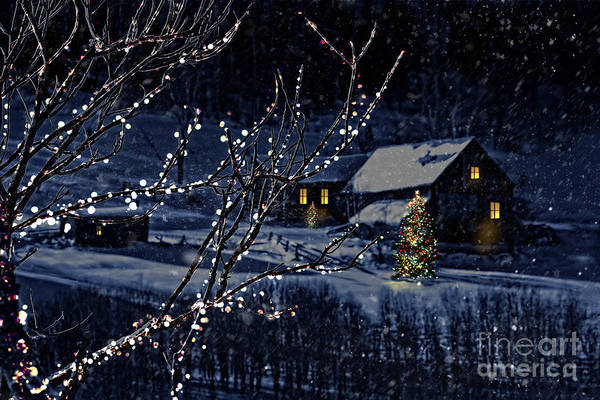 Wall Art - Photograph - Snowy Winter Scene Of A Cabin In Distance  by Sandra Cunningham