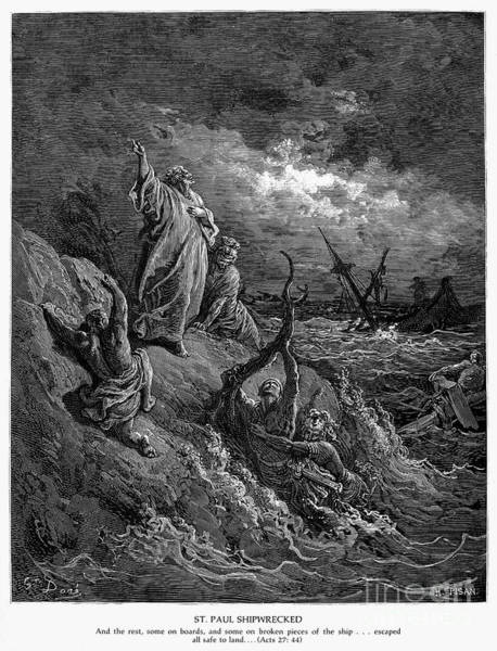 Stormy Drawing - Shipwreck Of St. Paul by Gustave Dore
