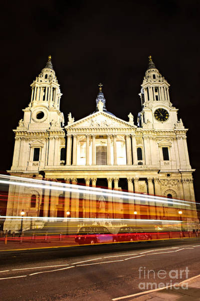Photograph - St. Paul's Cathedral In London At Night by Elena Elisseeva