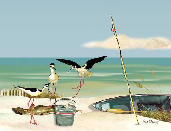 Stilts On Beach Art Print