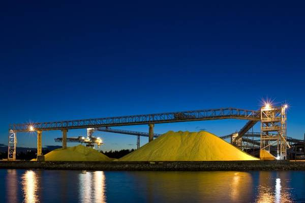 Port Of Vancouver Wall Art - Photograph - Stockpiled Sulphur, Vancouver, Canada by David Nunuk