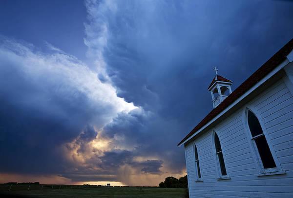 Prairie View Digital Art - Storm Clouds Over Saskatchewan Country Church by Mark Duffy