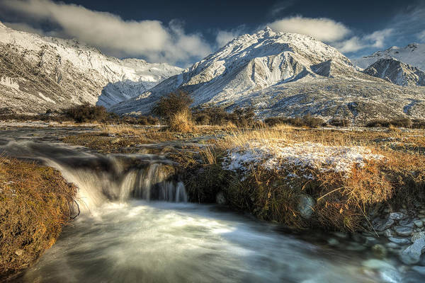 Ohau Wall Art - Photograph - Stream And Theben Ohau Range  In Mount by Colin Monteath