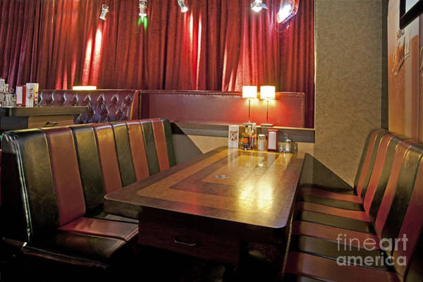 Barbeque Photograph - Table And Booths At An Americana Diner by Jaak Nilson