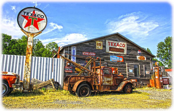 Wrecking Yard Photograph - Texaco Towing by Steve McKinzie