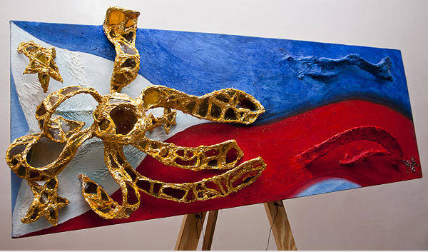 Wall Art - Mixed Media - The Philippine Flag by Yvette Co