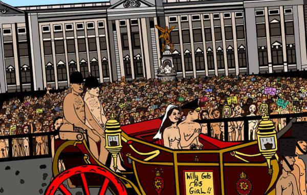Wall Art - Drawing - The Royal Nude Wedding by Karen Elzinga