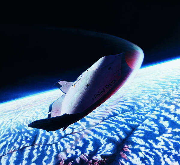 High Speed Photograph - The Space Shuttle Re-entering The Earth's Atmosphere by Stockbyte