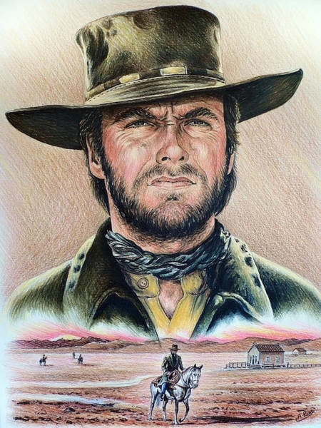 Clint Eastwood Drawing - The Stranger by Andrew Read