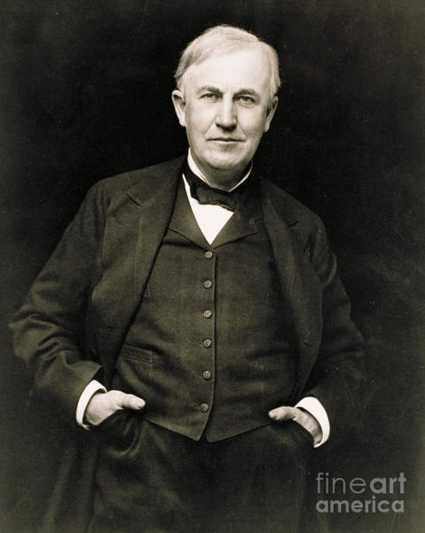 Tele Photograph - Thomas Edison, American Inventor by Photo Researchers
