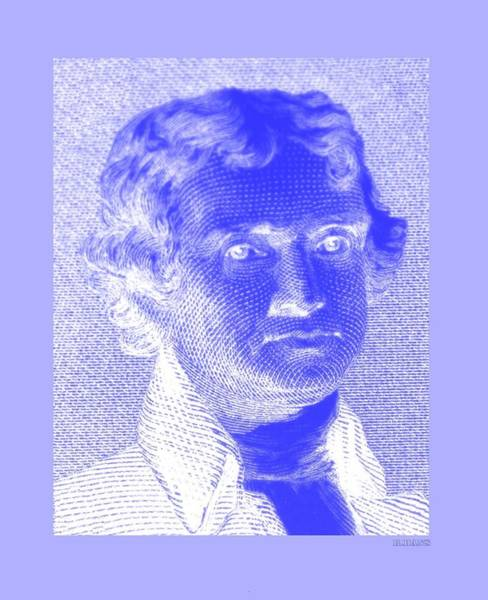 Photograph - Thomas Jefferson In Negative Blue by Rob Hans