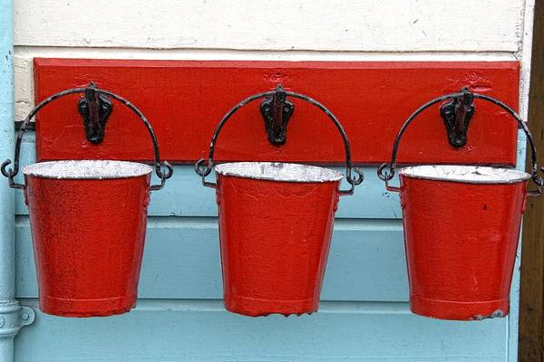 Bucket Photograph - Three Red Buckets by John Short