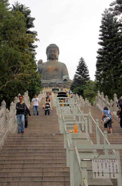 Giant Buddha Photograph - Tian Tan Buddha by Valentino Visentini