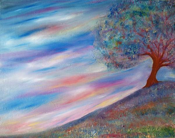 Romo Painting - Tree On The Hill by Robin Monroe
