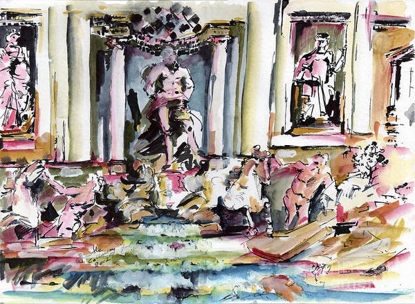 Painting - Trevi Fountain Rome Italy  by Ginette Callaway