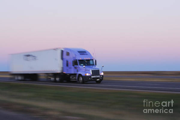 Wall Art - Photograph - Truck On Texas Highway 287 At Sunrise by Jeremy Woodhouse