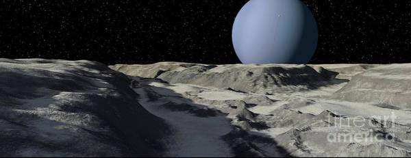 Cosmology Digital Art - Uranus Seen From The Surface by Ron Miller